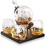 Vasos de Whisky Jarra de Whisky Real decantadores, grabado al Globo de whisky la jarra del regalo con la más nueva base de madera, manijas, el uso duradero de conveniencia a la carga ron, vodka, vino