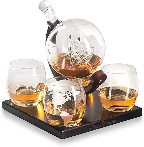 Vasos Whisky Cristal Real decantadores, Grabado al Globo de Whisky la Jarra del Regalo con la más Nueva Base de Madera, manijas, el Uso Duradero de conveniencia a la Carga Ron, Vodka, Vino