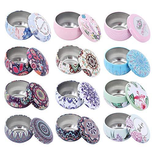 Mini tarros de hojalata para hacer velas, recipiente de latas de metal vacío de color mezclado con tapas para almacenamiento en seco de especias, dulces, recuerdos de fiesta, bodas (12 piezas)