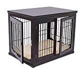 Internet's Best Decorative Dog Kennel with Pet Bed - Small Dog - Double Door - Wooden Wire Dog House - Large Indoor Pet Crate Side Table - Espresso