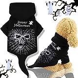 Idepet Abrigo de Perro con Capucha para Mascotas de Halloween, Cráneo Negro Cachorro Perro Gatos Ropa Trajes Ropa de Invierno Chihuahua Vestirse Fiesta