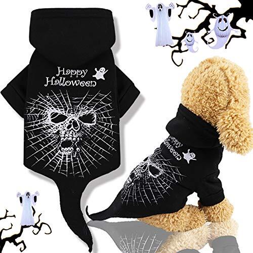 Idepet Halloween Haustier mit Kapuze Mantel, schwarze Schädel Hündchen Kleidungs Ausstattungs Winter Kleidungs Chihuahua die oben Partei für kleine Hunde oder Katzen ankleiden