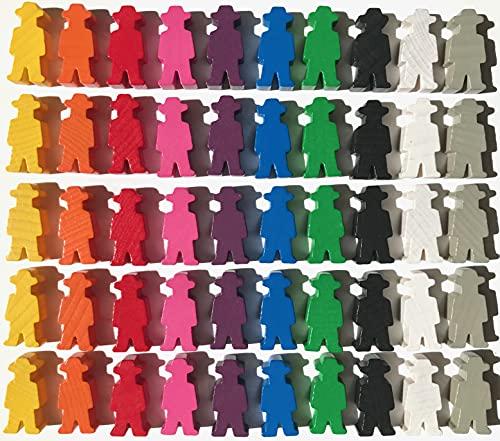 Spielfiguren für Brettspiele: Männchen mit Hut / Cowboy / Bauer / Arbeiter 15x30x8 mm . Spielmaterial, 10 Farben. 50 Spielfiguren (10 x 5 Figuren)