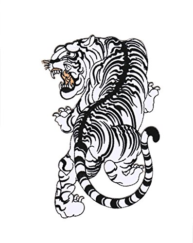 Parche Tigre Blanco Animal - 20.6 cm x 13,5 cm XL Tamaño Grande - Parche para ropa Termoadhesivo Iron on Patches Sew on Apliques Mochila Jeans Chaqueta Backpack – Treasure-Quest