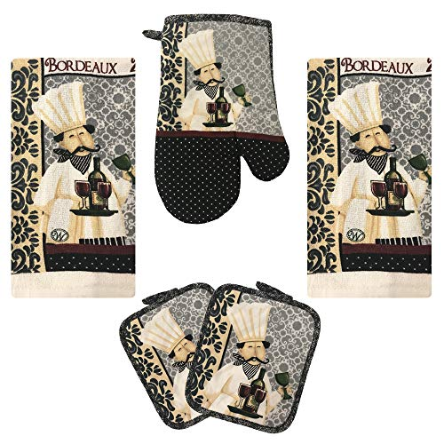 Lobyn Value Packs Kitchen Towel 5 Piece Linen Set 2 Towels 2 Pot Holders 1 Oven Mitt (Chef)