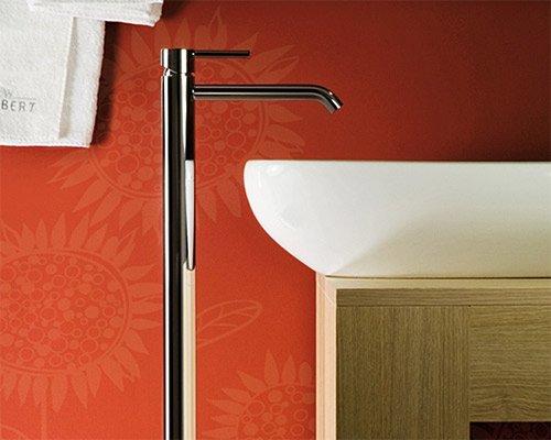 Standarmatur Einhebelmischer chrom extra hoch für Waschtisch Waschbecken Waschschale oder Badewanne, freistehende Mischbatterie mit Wasserzulauf aus dem Boden, mit Klick-Klack Ablaufventil und keramischer Kartusche