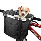 MATTISAM Bicycle Basket with Dog Seat Belt, Phone Pouch and Drawstring Cover, Quick-Release