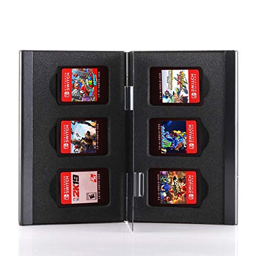 Premium Game Card Case for Nintendo Switch, Aluminum Game Cartridge Holder for Nintendo Switch (Hold 6 Game Cards) - Black