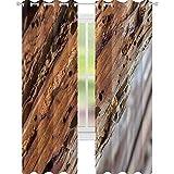 YUAZHOQI Cortina opaca con aislamiento térmico con viga de madera vieja afectada por Woodworm Wood Eating Larvae Spec Drape para sala de estar 52 x 63 pulgadas
