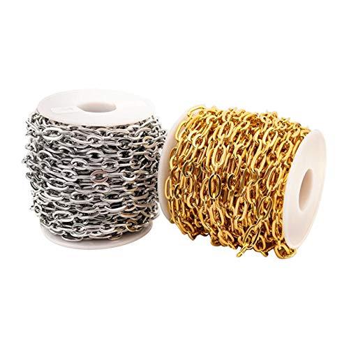 Amagogo Cadena de Cable de Acero Inoxidable de 2 Rollos para Hacer Joyas para Collar Colgante