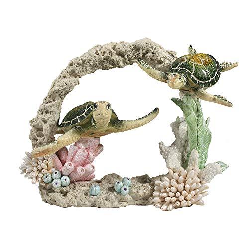 Comfy Hour Ocean Voyage with Sea Turtles Collection Resin 7' Turtles Coral Marine Animal Desktop Decoration