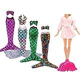 Miunana 6 Artículos: 3 Traje de baño sirena (Verde, Rojo, Púrpura) + 1 Camisón Rosado + 1 Traje de baño sirena con Lentejuelas arco iris + 1 Cola de pescado con plástico para 11.5 Pulgadas Muñeca