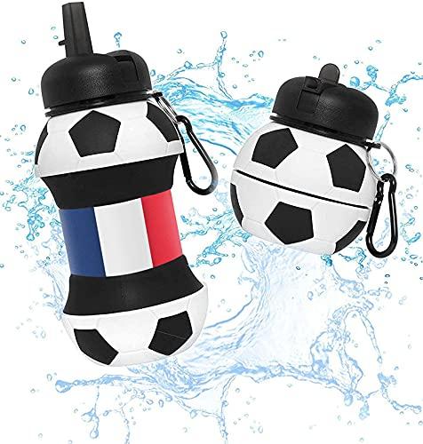 Botella Agua Silicona Diseño Fútbol Francia - Plegable - Niños, Niñas y Adultos - Muy resistente - 550ml (France)