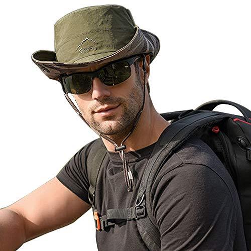WANYIG Double-Sided Fisherman Hat Cappello da Pescatore per Pesca Cappelli Uomo Estivo con Protezione UV(Esercito Verde)