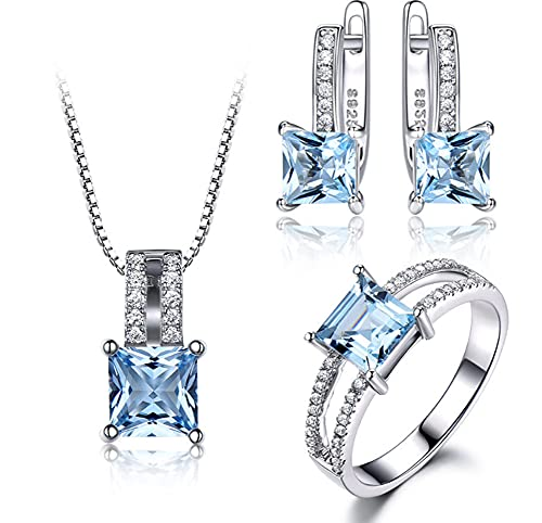 CHXISHOP Conjunto de joyería de las mujeres 925 plata de ley azul cielo topacio piedra preciosa anillo pendientes tres piezas temperamento alta joyería cielo azul # 7 #