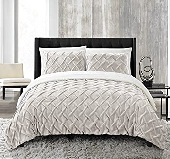 Chic Home Pearl 3 Piece Comforter Set Ultra Plush Micro Mink Criss Cross Pinch Pleat Sherpa Lined Bedding – Decorative Pillow Shams Included Queen Beige