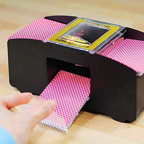 duquanxinquan Kartenmischmaschine Automatisch Automatischer Spielkartenmischer Kartenmischgerät batteriebetrieben für 2 Decks zum Mischen Schwarz