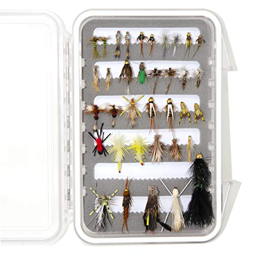 Outdoor Planet 36Pieces Pack 1 Essential Nymphs Flies/Wet Flies/Dry Flies/Streamer/Hopper Trout Fly Assortment for Fly Fishing Flies + Waterproof Fly Fishing Box