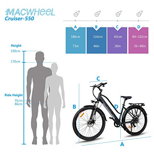 Macwheel 700C Electric Bike, 250W Brushless Motor, 36V/10Ah Removable Lithium-ion Battery, Shimano 7-Speed, Suspension Fork, Trekking eBike Black