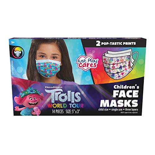 Just Play DreamWorks Trolls Children's Single Use Face Mask, Trolls World Tour, 14 Count, Small, Ages 2 - 7, Multi-Color.