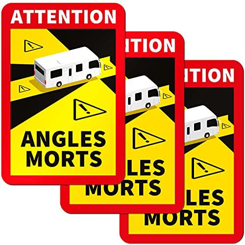 PrintAttack P087 | Angles Morts Sticker Toter Winkel Aufkleber wetterfester Aufkleber, Blind Spot LKW Transporter Bus Aufkleber | 3X 17x25cm (3 Stück Wohnmobil)