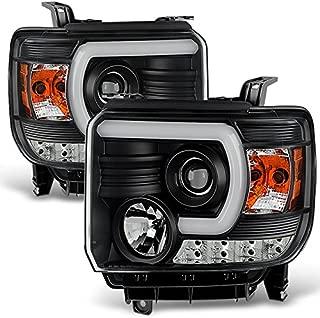 For 14 15-18 GMC Sierra 1500/2500HD/3500HD BLACK C-Shape LED DRL Projector Headlights Pair