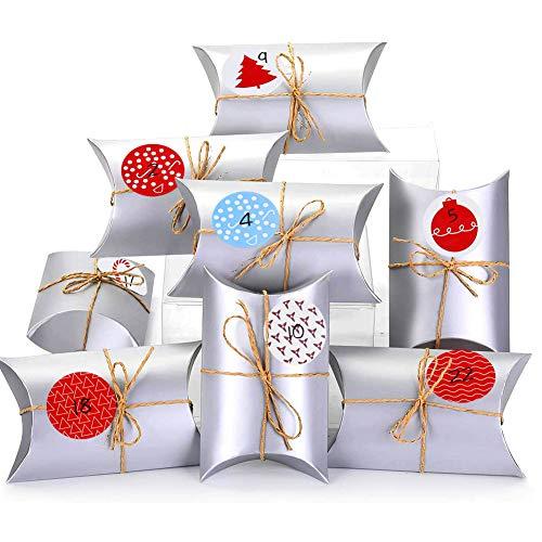 BESTZY Adventskalender zum Befüllen 24 Stück Adventskalender Kraftpapier Tüten Box mit Zahlenaufklebern für DIY Weihnachten zum Basteln und Verzieren