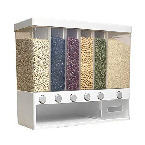 Dispensador de alimentos de cocina, tanque de almacenamiento de alimentos secos montado en la pared, dispensador de almacenamiento de granos de gran capacidad, para cereales, té y arroz,10 litros