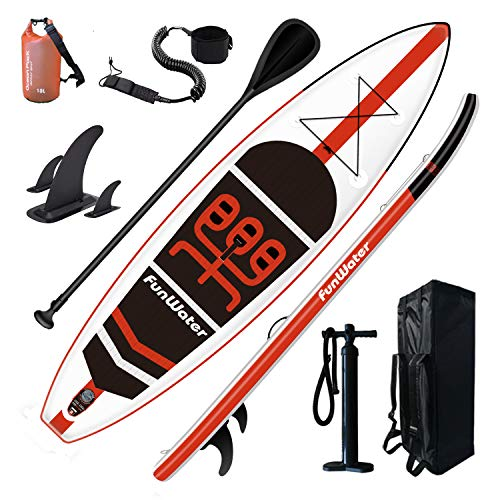"FunWater Inflatable Stand Up Paddle Board 11'×33""×6"" Ultra-Light (18.5lbs) SUP for All Skill Levels Everything Included with 10L Dry Bags, Board, Travel Backpack, Adj Paddle, Pump, Leash"