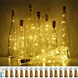 Wine Bottle Lights with Cork, LoveNite 15 Pack Battery Operated 10 LED Cork Shape Silver Wire Colorful Fairy Mini String Lights(No Bottles) for DIY, Party, Christmas, Wedding Decor (Warm White)