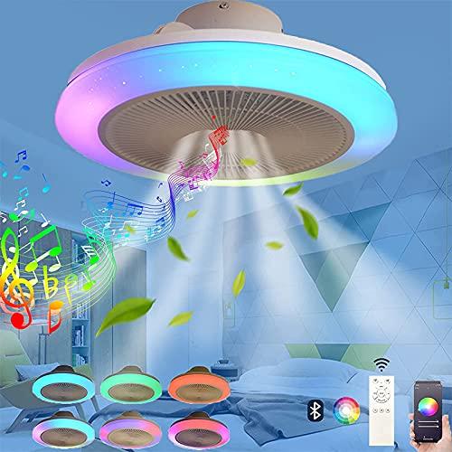 VOMI Regulable Plafón Luz de Techo con Bluetooth Altavoz RGB Color Ventilador de Techo con Luz y Mando a Distancia APP LED Música Candelabro Silencioso Ventilador Luces para Dormitorio Familia Fiesta