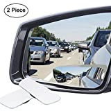 Ampper Slender Blind Spot Mirrors, Frameless 360 Degree Adjustabe HD Glass Convex Wide Angle Rear View Car SUV Stick On Lens (Pack of 2)