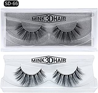 Abelyn 3D Mink False Eyelashes Natural Look Hand Made Thick Real Mink Fur Hair Vivid and Soft Reusable Fake Lashes Strip Eyelashes Extensions (SD-66)