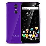 OUKITEL C8 - 5,5 pulgadas (18: 9 relación visión completa) Android 7.0 3G smartphone, 3000mAh batería, 1,3 GHz Quad Core 2 GB de RAM de 16 GB de ROM, cámara de 5MP + 13MP, huella digital - Púrpura