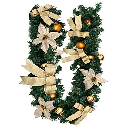 New_Soul 1.8M Christmas Garland for Stairs Fireplaces 6ft Christmas Wreath Garland with Gold Flower Bow Artificial Xmas Tree Decorations