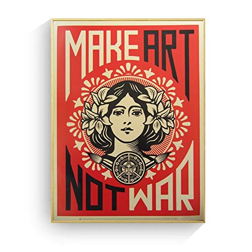 ad Make Art Not War Pop Art Vintage Poster Prints on Canvas Wall Art Murals Pictures For Living Room Decoration-50x70cm Sin Marco