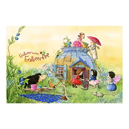 Bilderwelten Kinderzimmer Tapeten - Vliestapeten Premium - Erdbeerinchen Erdbeerfee - Bei Heidi - Fototapete Breit Vlies Tapete Wandtapete Wandbild Foto 3D Fototapete, Größe HxB: 190cm x 288cm