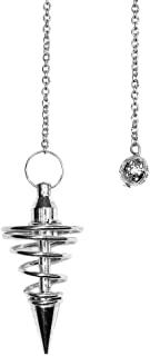 Silver Metal Spiral Pendulum with Satin Bag and Instruction Leaflet for Divination / Dowsing Tool