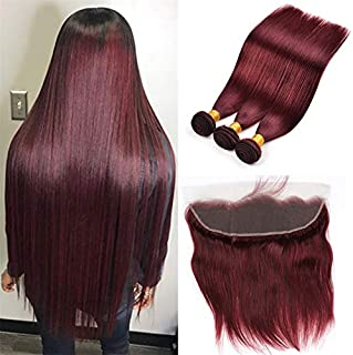 Brazilian Virgin Hair 99j Burgundy Straight Hair Weaves 3 Bundles with Lace Frontal 13x4 Free Part Red Wine Color 100% Unprocessed Human Hair Weft Weaves (20 22 24 with 18F, 99j/burgundy/wine red)