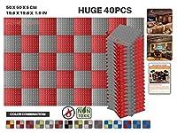 エースパンチ 新しい 40ピースセット グレーと赤 500 x 500 x 50 mm ピラミッド 東京防音 ポリウレタン 吸音材 アコースティックフォーム AP1034
