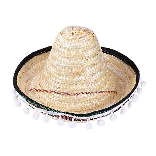 Amosfun Mexikanischer Sombrero-Hut-Stroh-Partyhüte mit Plüschkugeln Hawaiianer Requisiten für Kinder 28CM