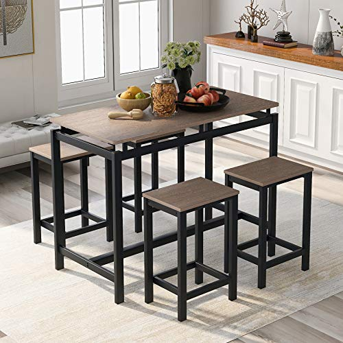 Merax 5 Piece Dining Table Set Wooden Kitchen Table and 4 Chairs with Metal Legs (Dark Brown)