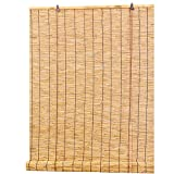 ELLENS Cortinas de caña Natural, persianas Romanas, persianas enrollables de bambú, Parasol Tejido a Mano para balcón/Oficina, protección UV/Transpirable/ecológico, tamaño Personalizable (90 cm×120 c