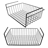 Tebery 2 Pack Black Under Cabinet Storage Shelf Wire Basket Organizer Fit Dual Hooks for Kitchen Pantry Desk Bookshelf