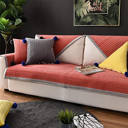 Funda de Sofá Chaise,Cotton Thick Corner Sofa Slipcover,Living Room Fabric Sofa Covers,for 1/2/3/4/5 Seater Sofa,Funda de sofá Suave de Superficie de Franela-Rojo_110×160cm