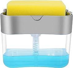 Elora Aeakey Soap Pump Dispenser and Sponge Holder for Kitchen Sink Dish Washing Soap dispenser 13 ounces Silver