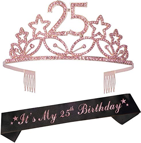 25th Birthday Gifts for Women, 25th Birthday Tiara and Sash, Happy 25th Birthday Party Supplies, It's My 25th Birthday Sash and Tiara Birthday Crown for 25th Birthday Party Supplies and Decorations