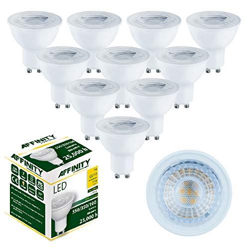 Affinity - Juego de 10 bombillas LED (7 W, GU10, 550 lúmenes, 350 lúmenes, 100 lm, 2700 K, luz blanca cálida), transparente