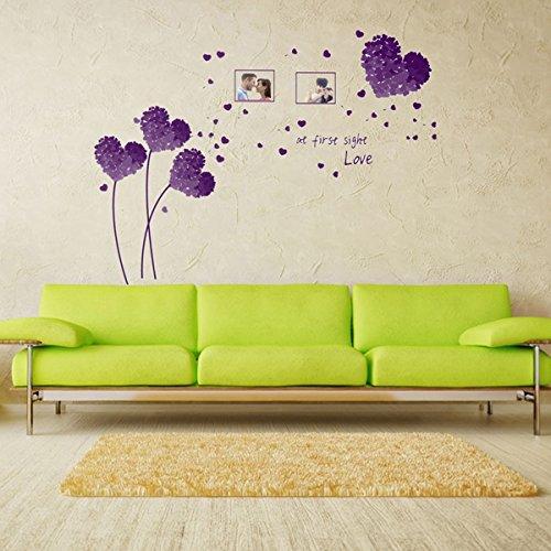 Bluelover 5 Couleur Coeur Amour Mur Autocollant Photo Frame Feuilles Arbre Autocollants Repositionnables Accueil Créations Violet