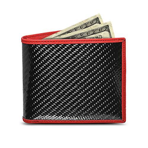 Genuine Bi-fold Black Carbon Fiber Wallet with Red Stitched Edge